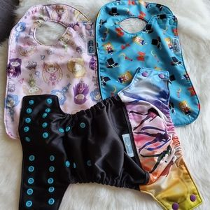 Rare Sailor moon diaper cloth and bib set